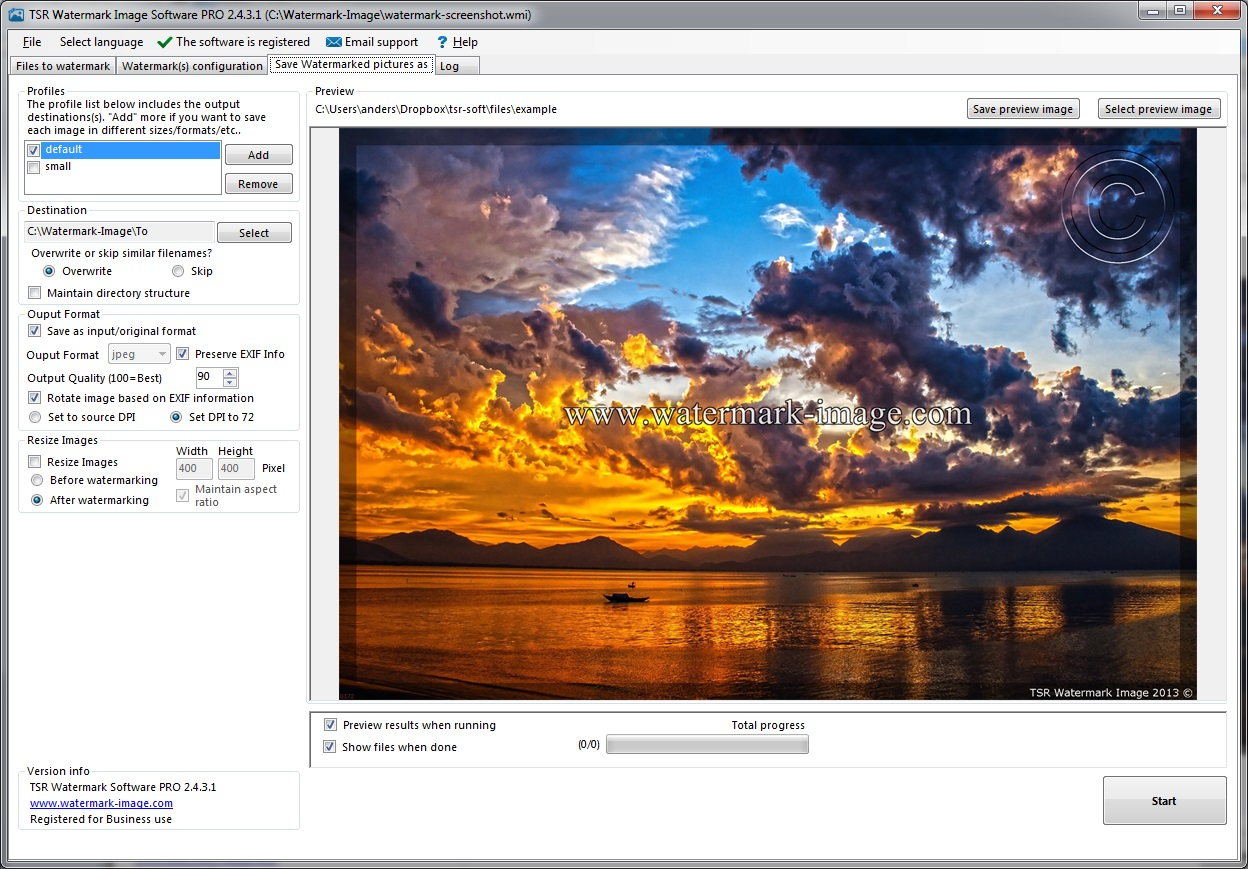 Ventana de ejemplo de TSR Watermark Image Software