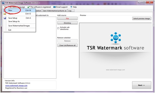 How to select create a new setup using TSR Watermark Image