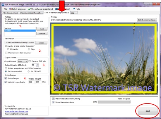 How to configure a text watermark in TSR Watermark Image