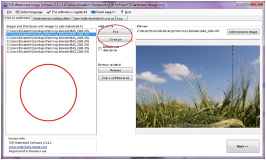 How to select files to add watermark too when using the TSR Watermark Image